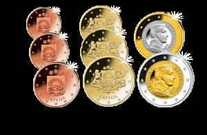 Die Lettischen Euro Münzen Kommen Jetzt Einen Komplettsatz Sichern